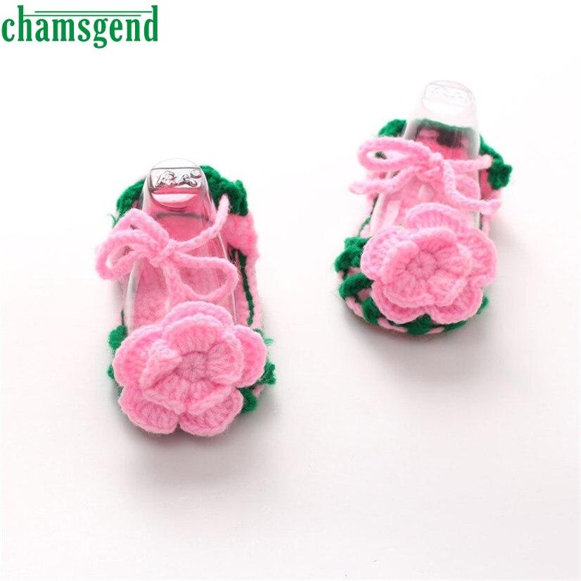 CHAMSGEND Best Seller Crib Crochet Casual Baby Girls Handmade Knit Sock Roses Infant Shoes Rose pattern S35