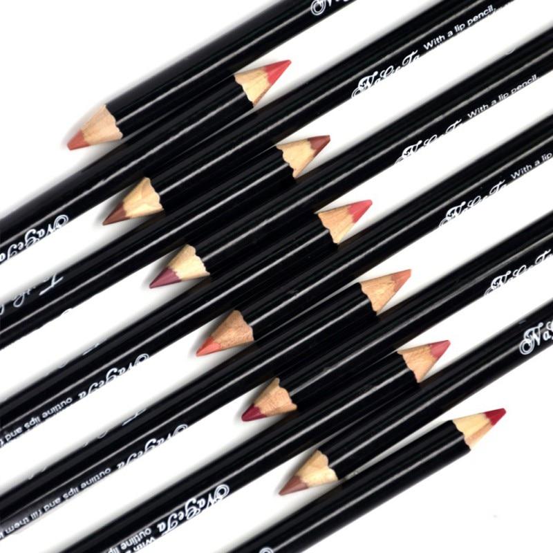 12 Colors Smooth Color Lip Pencils Matte Liner Pencil Lots Waterproof Makeup Lips Lipstick Pen