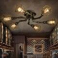 Lampara Techo винтажная Потолочная люстра Arana  светильник Zyrandol  свет  лофт  промышленный ресторан  ретро  железные трубы  бар лампы