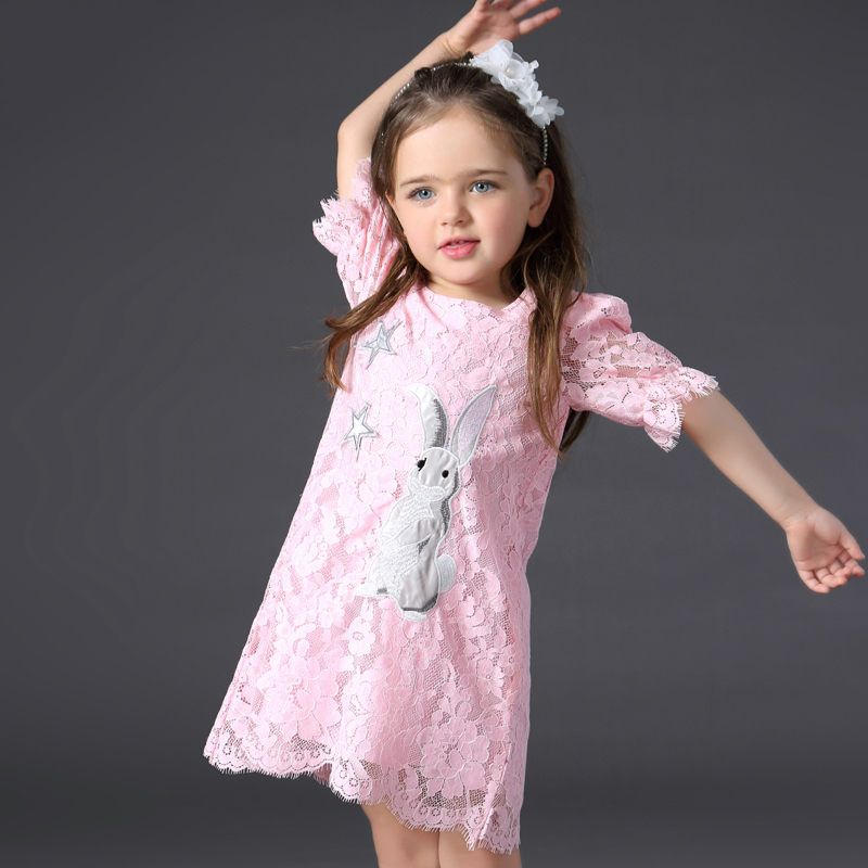 Baby Girl Short Sleeve Cartoon Dress Infant White Bunny Rabbit Ball Gown Tutu Dress Casual Kids Lace Dress 2 3 4 5 6 Years casual skew collar short sleeve bodycon dress