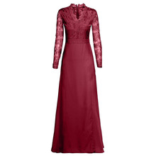 Sexy Women Lace Party Dress Women Deep V-Neck Long Sleeve Evening Party Long Dress Red Ladies Maxi Dress Vestidos