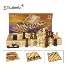 Wooden Chess Set Backgammon Checkers 3 in 1 Travel Game Pieces and Board for Kids Adult Three Gameplay I1
