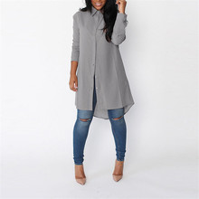 S-XXL Pure Chiffon Blouse 2017 Plus Size Women's Long Sleeve Fall Brand Shirt Casual Loose Super Brand
