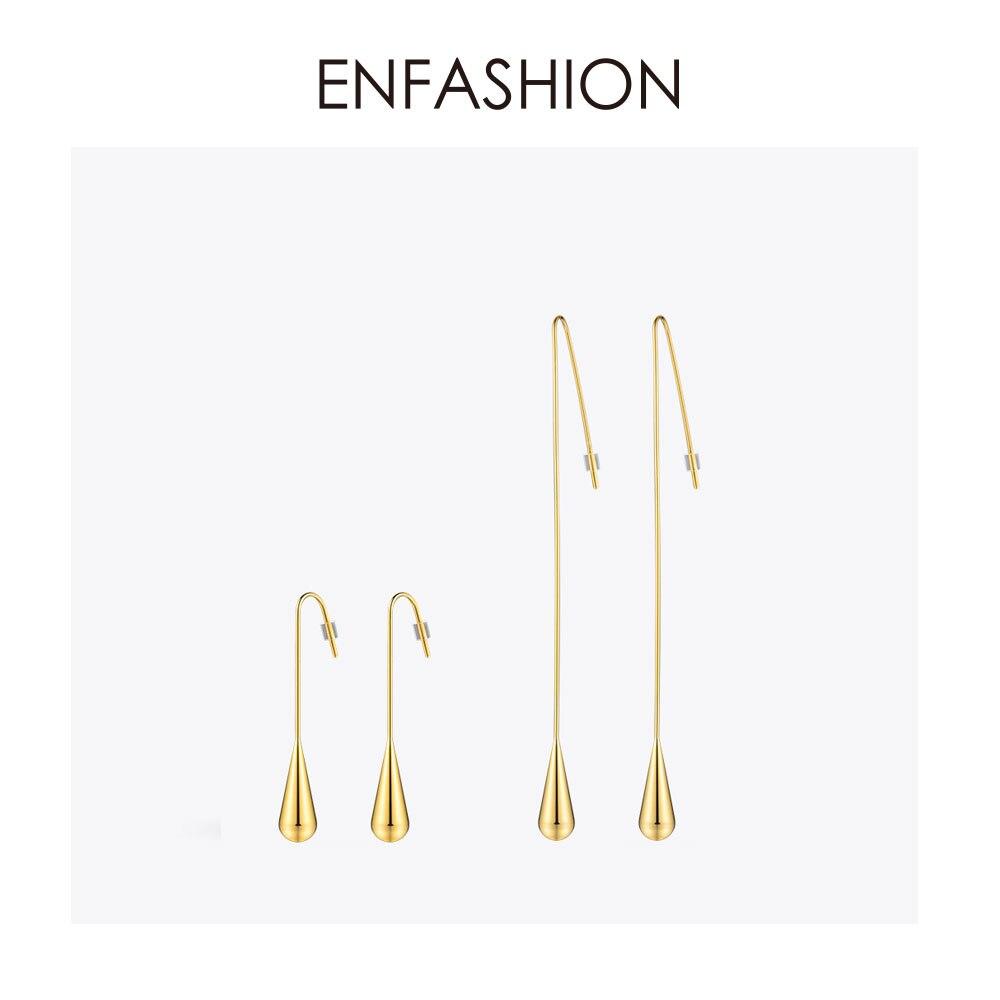 Enfashion Forma de Gota de Água Oscila Brincos Brincos Brincos Para As Mulheres da cor do Ouro Longo Brinco Moda Jóias brinco