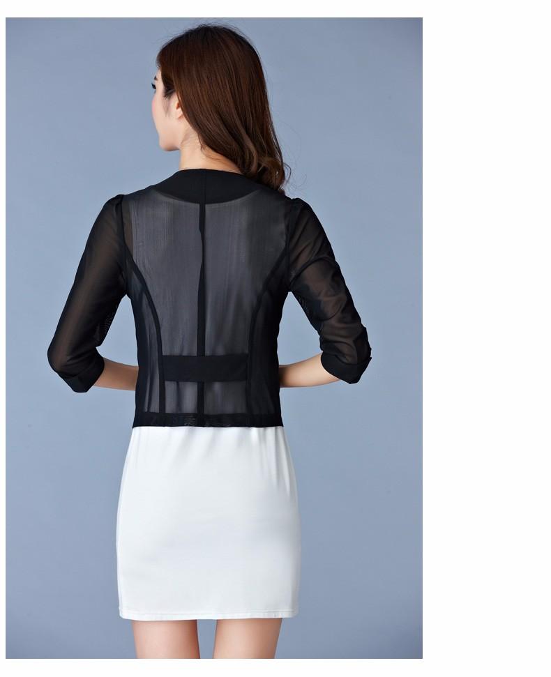 Women Black White Gauze Jacket Summer 2016 Chiffon Cardigan Sexy 34 Sleeve Plus Size Slim Jackets Office Lady Coat Tops A385  f