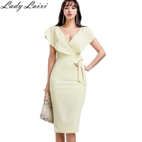 2019 Summer Ruffle bow Sexy V neck Party Bodycon Dress Women yellow short Sleeve Ladies Casual Office work Midi Dress