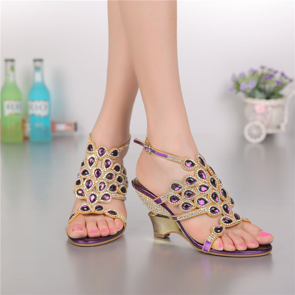 ФОТО Women Crystal Wedges Sandals Shoes 2017 Summer Brand Leather Women Party Shoes for Ladies Fashion Rhinestone Sandals GS-L003