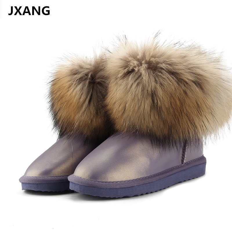 JXANG Fashion Thick Natural Fox fur Snow Boots Women Boots 100% Real Leather Waterproof Winter Warm Snow Boots Ankle Boots jxang fashion thick natural fox fur snow boots women boots 100% real leather waterproof winter warm snow boots ankle boots