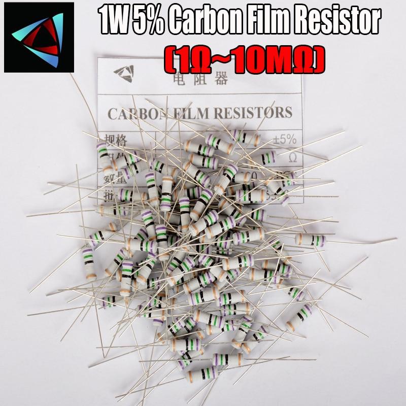 20pcs 1W 1R~10M 5%  Carbon Film Resistor  1K 1.5K 2.2K 4.7K 10K 22K 47K 100K 100 220 1K5 2K2 4K7 Ohm Resistance Carbon Film