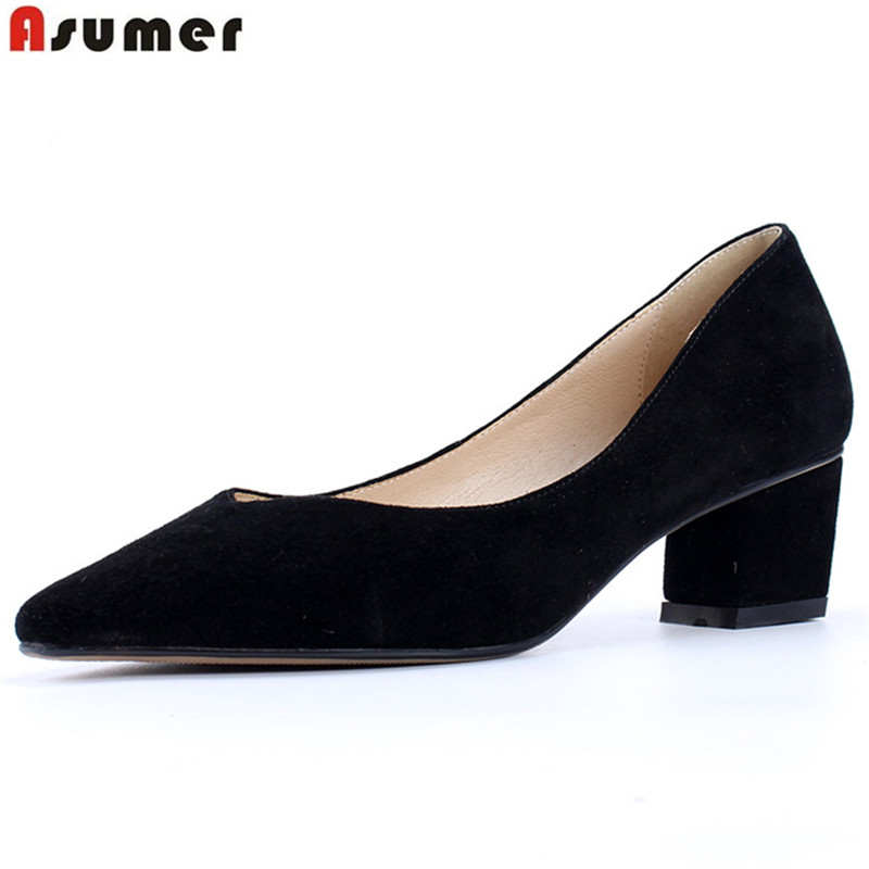 ASUMER black fashion spring autumn shoes woman pointed toe elegant pumps women shoes square heel suede leather high heels shoes asumer beige pink fashion spring autumn shoes woman square toe casual single shoes square heel women high heels shoes
