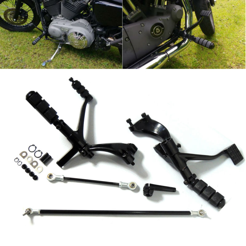 For Harley Sportster 1200 883 Gloss Black Forward Controls Complete Kit with Pegs Levers Linkages Motorcycel Parts Black for harley sportster 883 1200 chrome forward controls kit pegs levers linkage