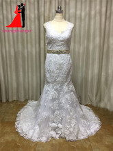 New Lace Appliques Mermaid Wedding Dresses 2017 Vestido De Noiva V-Neck Plus Size Wedding Bridal Gown Court Train