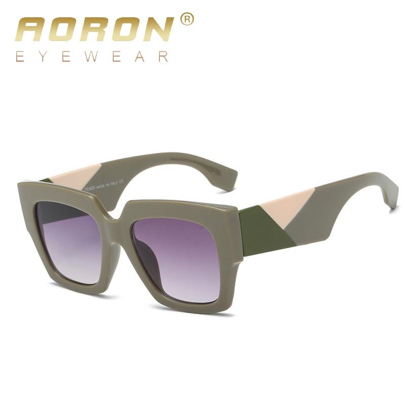 AORON New Brand Designer Fashion Women Sunglasses Square Oversize Female Flat Top Vintage Sun Glasses Eyewear Oculos de sol