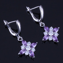 Resplendent Star Purple Cubic Zirconia White CZ 925 Sterling Silver Drop Dangle Earrings For Women V0362