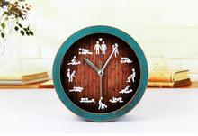 Retro Style Premium 3D Faux Wood Alarm Clock Minimalist Desktop Clocks Lazy Watch Clock Home Mini Clock