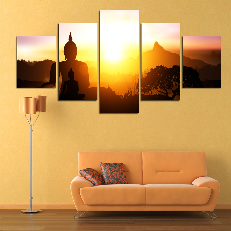 No Frame HD Printed Buddha Statue With Sunset Landscape Painting 5 ...