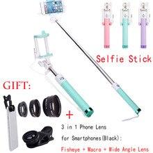 New 4 In 1 SKF05 Gen 2 Wired Handheld Selfie Stick Monopod Fisheye Macro Wide Angle