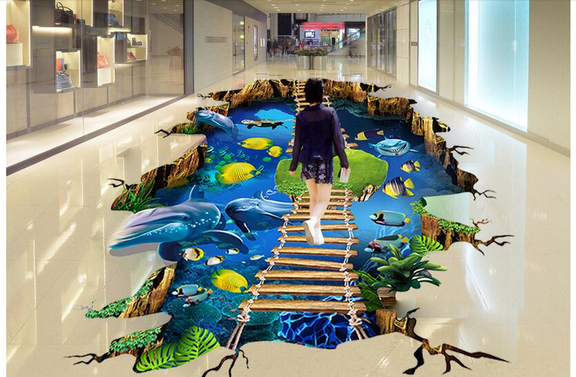 3d pvc flooring custom photo mural picture Sea dolphin ladder Waterproof floor wallpaper for walls 3d room decoration painting