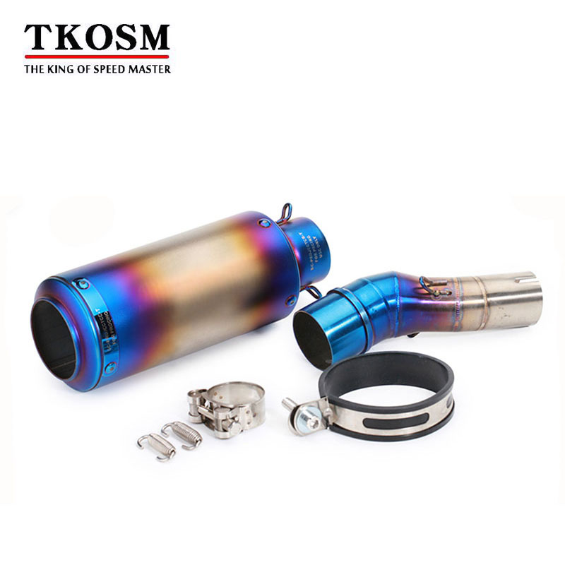 TKOSM Motorbike Laser Marking Muffler FOR Kawasaki Ninja 350 Stainless Steel Exhaust Muffler Pipe Link Middle Pipe Escape