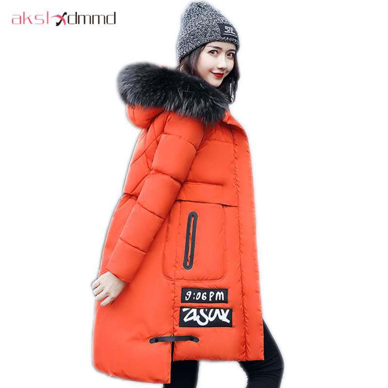 AKSLXDMMD Parkas Mujer Plus Size Printed Letters Fur Collar Hooded Winter Women Jacket 2017 New Thick Slim Winter Coats LH1115 akslxdmmd women winter jacket 2017 new female jacekt fashion hooded printed letters thick padded woman coat parkas mujer lh1066