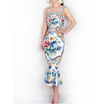 Robe à bretelles Spaghetti 2018 luxe bleu et blanc porcelaine imprimé décontracté trompette gaine mi-mollet col carré nouveauté robe