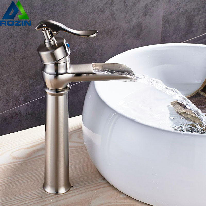 Brushed Nickel Waterfall Basin Faucet Deck Mounted Pump Shape Hot Cold Water Tap Single Handle Brass