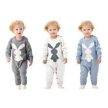 Cute Baby Clothing Set Rompers Winter Rabbit Knitted Long Sleeve Button Cover Infant Bunny Jumpsuit One Piece Outfits
