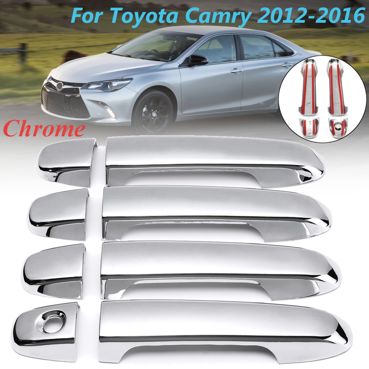 FOR 2013 2014 2015 2016 2017 FORD FUSION CHROME DOOR HANDLE COVER COVERS NO KEY