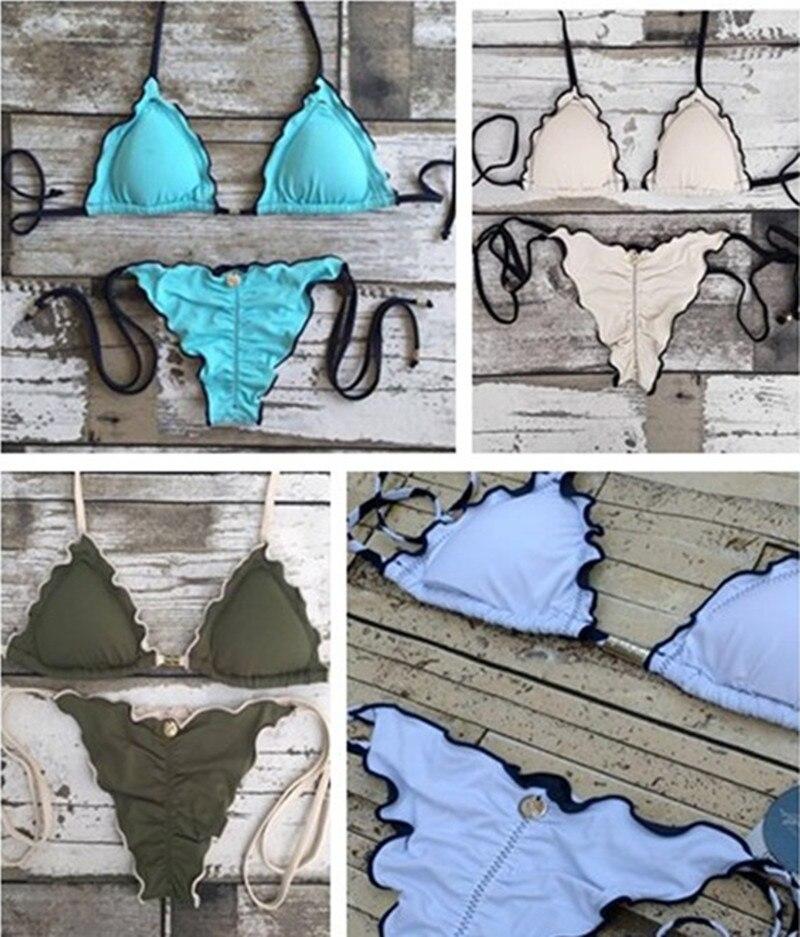 Wome sexy solid bikini set 4 colour bandage bathingsuit 2018 New swimwear high quality swimsuit push uo biquinis
