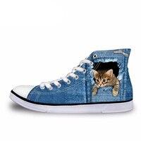 NOISYDESIGNS высокие Для мужчин Вулканизированная обувь модные синие джинсы 3D животных кошка печати Мужской Узелок Для мужчин Повседневное высо...