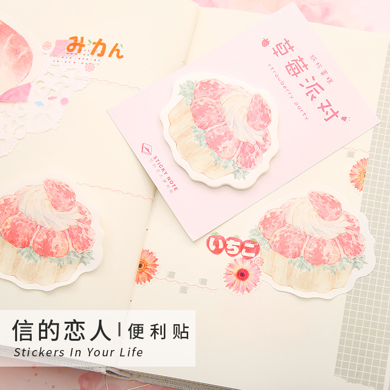 1 Set Memo Pads Kawaii Stickers Strawberry Party Sticky Notes Escolar Papelaria School Supply Bookmark Notepad Label