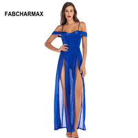 glitter evening party night club women dresses spaghetti strap double slit dress mesh sexy backless lady blue red bustier dress