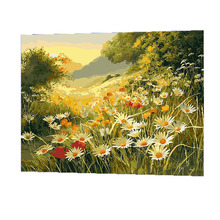 WONZOM Sunrise Mountain Flowers Painting By Numbers On Canvas DIY