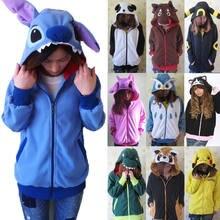8738a9aa68b06 Women 3D Cartoon Animal Hoodies Costume Totoro Men Pokemon Pikachu with  Ears Face Eyes Sweatshirt Jacket Hoodies with Zip Hood