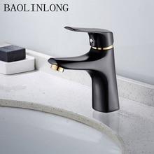 купить BAOLINLONG Brass Bathroom Mixer Faucet Baking finish Black Deck Mount Vanity Vessel Sinks Basin Faucet Tap дешево