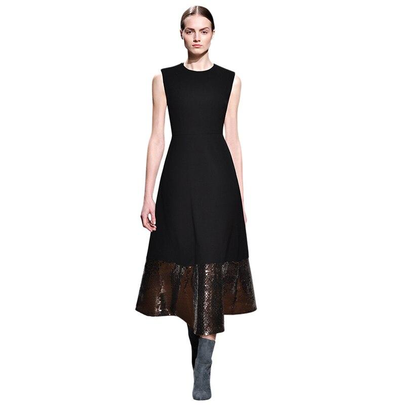 Ligne Longue Robe Manches 2018 Piste Designer Haute Noir Paillettes Hiver Robes Maxi Rond Une Qualité Patchwork Col Automne B1OqwP7
