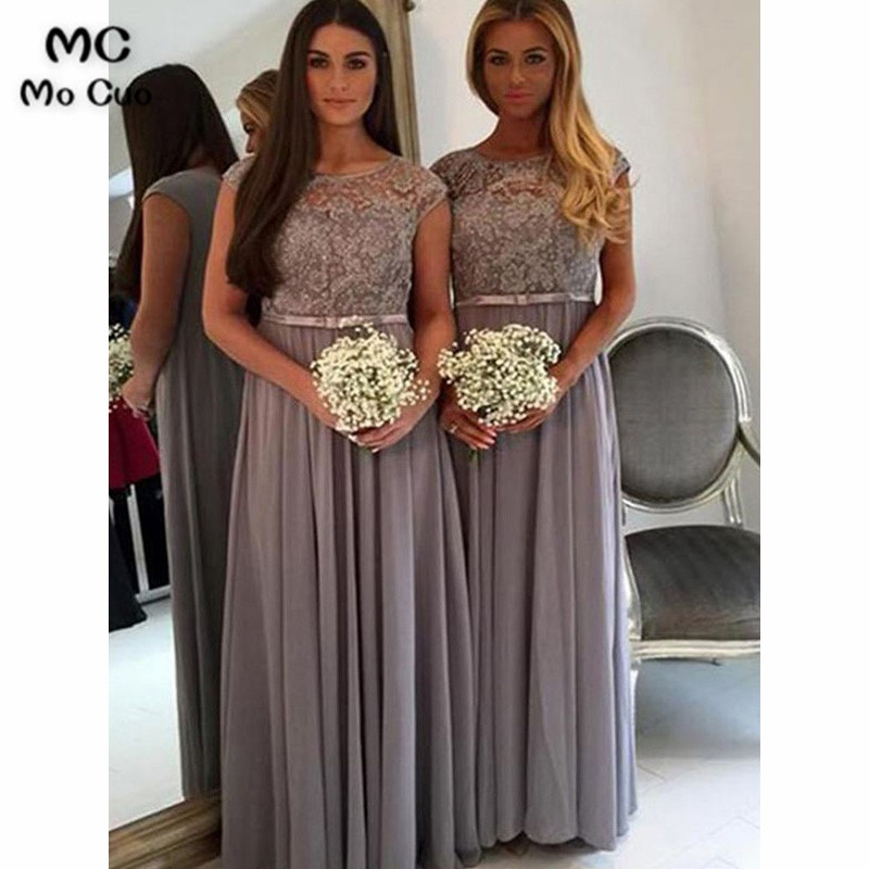 Elegant 2019 Grey   Bridesmaid     Dresses   Long Scoop Short Sleeve Sashes Chiffon Illusion Formal Wedding Party   Dress     Bridesmaid     Dress