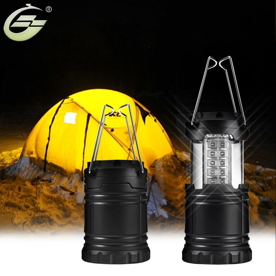 Fashion Black Gray Portable LED Tent Light Stretch Outdoor Camping Lantern Hiking Lamp 30 Mini Bulbs