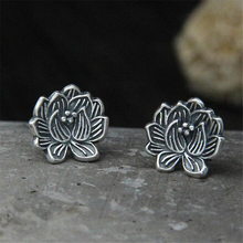 11MM Black Silver Lotus 925 Sterling Jewelry Stud Earrings For Women Statement Earring