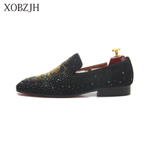 Italian Genuine Leather wedding Loafers Men Luxury Dress red bottom Shoes Designer Rhinestone Man G Brand Shoes High Quality