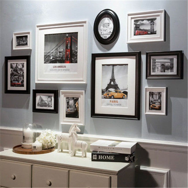 cheap wall frames fashion style black wood photo frame art home decor creative combination