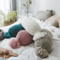 Hand knit Thick Line Back Cushion Candy Shape Pillows Cushions Adult Kids Birthday Christmas Gift Creative Decor Cushions