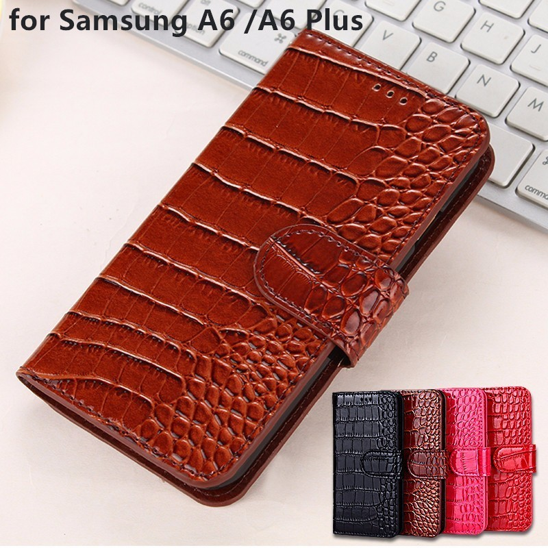 A6 Plus Case Samsung Galaxy A6 2018 flip cover Pu leather Protective business silicone phone case Coque for Samsung A6 Plus Case