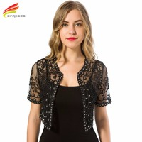 New 2015 Spring Style Women Perspective Shawl Fashion Hollow Out Lace Coat Lurex Short Sleeve Boleros