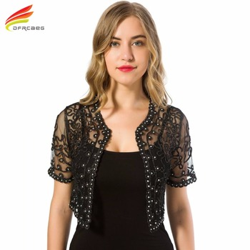 Women Basic Coat 2018 Summer Style Women Perspective Shawl Fashion Hollow Out Lace Boleros Short Sleeve Coats Jackets Female