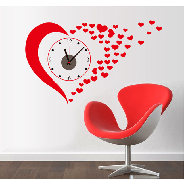 Creative Diy Wall Clock Big Red Decorative LOVE Wall Sticker Combination TV Wall  Decor Wallpaper Wedding
