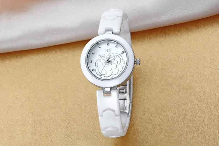 Romantic Classic Camellia Watches for Women Ceramic Bracelet Wristwatch Quartz Elegant Lady Dress Clock Analog Relojes NW7183 beautiful macaron color women dress watches quartz elegant lady ceramic bracelet clock simple fashion analog relojes 3atm nw2777