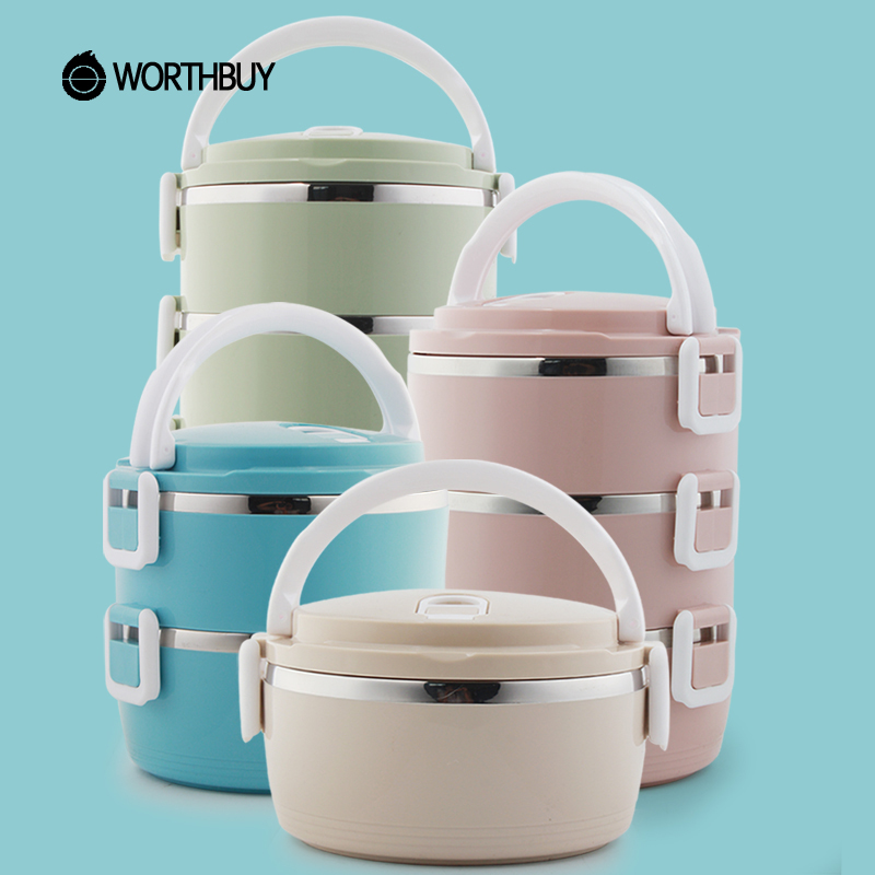 WORTHBUY Stainless Steel Lunch Box For Kids Food Container Storage Japanese Bento Box Portable For Children School Picnic Set