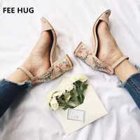 Plus Size Faux Suede Women Sandals High Heels Woman Embroider Sandals Ethnic Floral Sandalias Muje Party
