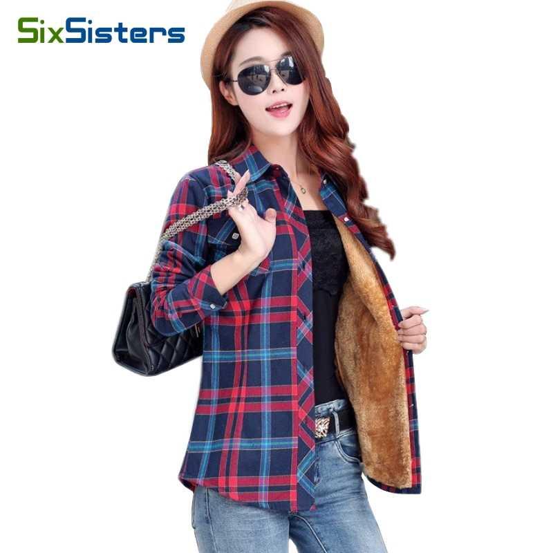 cc5965851f8 Бренд Для женщин шерсть рубашки в клетку Хлопковая блузка фланели Сгущает клетчатая  рубашка Для женщин Зима